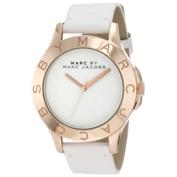 Marc by Marc Jacobs MBM1201 Women's Blade Rose Gold Tone Stainless Steel White Dial Leather Strap Watch