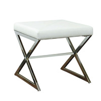 Impressions Vanity Co.   Lux White Faux Leather Vanity Ottoman