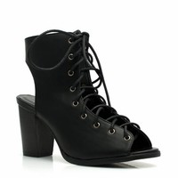 Bared Lace-Up Exposed Heels