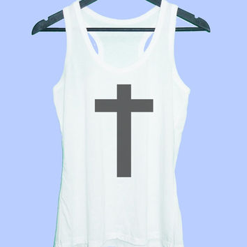 Cross tank top Grey tunic dress or White tank **racerback tank top **women tank top size S M L XL