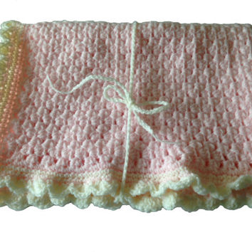 "Baby Blanket Hand Crochet, Pink with cream trim, Thick quality stitches, 17"" 44cm by 24"" 62cm, baby girl gift, baby shower, pram blanket"