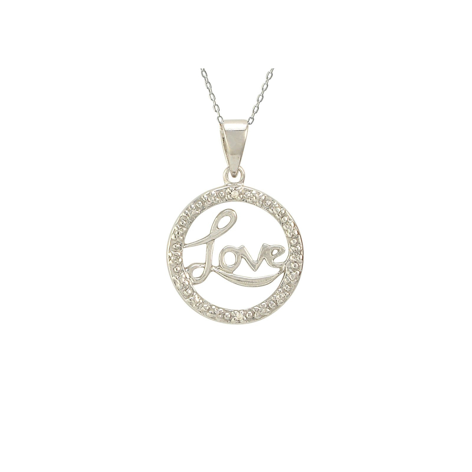 """Image of Sterling Silver Love Necklace with Diamond Accents, 18"""" (.01 cttw, I-J, I2-I3)"""