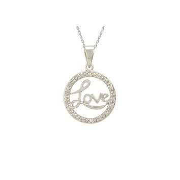 """Sterling Silver Love Necklace with Diamond Accents, 18"""" (.01 cttw, I-J, I2-I3)"""
