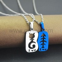 Unique Cat and Fish Similar Pendants Set for Teenage Couples