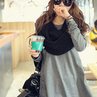 Fashion Solid Loose Cotton Long Sleeve Round Collar Plus Size Women T Shirts from Hester