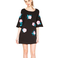 Floral Bell Sleeve A-Line Mini Dress