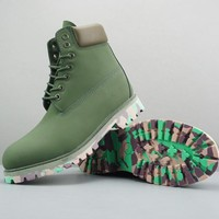 Timberland Leather Lace-Up Boot High Olive Green Camo Sole