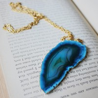 Blue Agate Geode Necklace on 10k gold chain