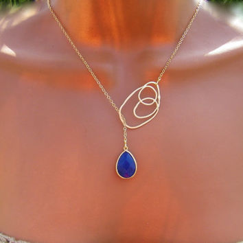 Lapis Lariat Necklace. Modern Abstract Circles. Blue Stone Necklace on Gold.