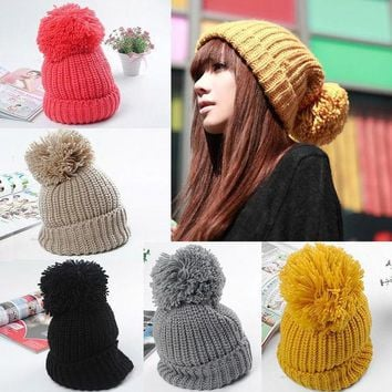 CREYU3C Women Winter Slouch Knit Cap Warm Oversized Cuffed Beanie Crochet Ski Bobble Hat  High Quality