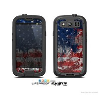 The Grungy American Flag Skin For The Samsung Galaxy S3 LifeProof Case