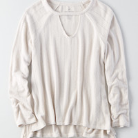 AEO Soft & Sexy Plush Pointelle Sweater, Sand