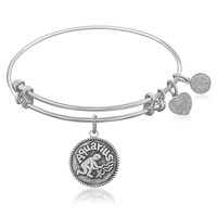 Expandable Bangle in White Tone Brass with Aquarius Symbol