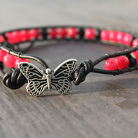 Pink and Black Beaded Leather Anklet