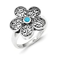 Sterling Silver Antiqued Recon Turquoise Flower Ring