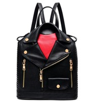 2017 Fashion Unique Clothes Design PU Women Leather BackpackS Female Travel Shoulder bag Women School Bag Hot Sale LJ430