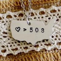 Love is Greater than Distance Necklace. Custom Long Distance Friendship. Long Distance Relationship. 18 Inch Chain.