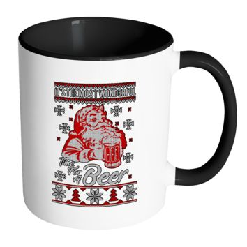 It's The Most Wonderful Time For A Beer Funny Ugly Christmas Sweater 11oz Accent Coffee Mug (7 Colors)