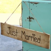 Rustic Old Barn Wood Hand Engraved Just Married by braggingbags