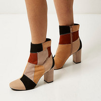 Brown patchwork heeled ankle boots - shoes / boots - sale - women