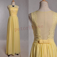 Yellow Lace Chiffon Long Prom Dresses 2015, Bridesmaid Dresses, Formal Evening Dresses, Party Dresses,Wedding Party Dress, Bridesmaid Dress