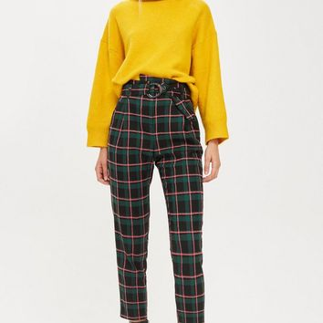 Textured Check Tapered Trousers | Topshop