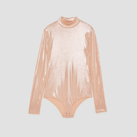 SHINY POLO NECK BODYSUIT DETAILS
