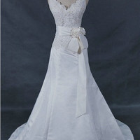 A-line V-neck Chapel Train Satin Lace Wedding Dresses With Embroidery Sashes Beading Free Shipping