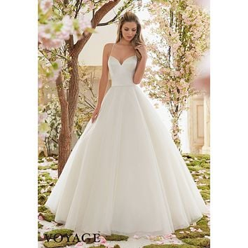 Voyage by Mori Lee 6831 Satin Bodice Tulle Skirt Ball Gown Wedding Dress