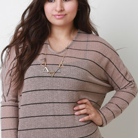 Striped Loose Knit Dolman Top