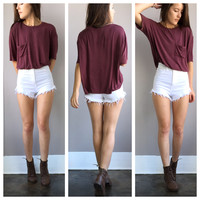 A Boyfriend Cropped Tee in Burgundy