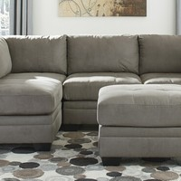5 pc Lago collection cobblestone colored fabric upholstered modular sectional sofa set