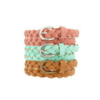 Braided Pleather Skinny Belts: Charlotte Russe