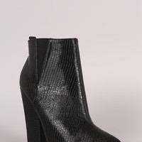 Snake Embossed Pointy Toe Chunky Heeled Booties