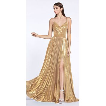 CLEARANCE - Criss-Cross Back with Slit Metallic Long Prom Dress Gold (Size 6)