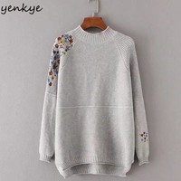 Fashion Women Half Turtleneck Sweater Floral Embroidery Long Sleeve Autumn Pullover European Style Casual Cozy Jumper Pull Femme