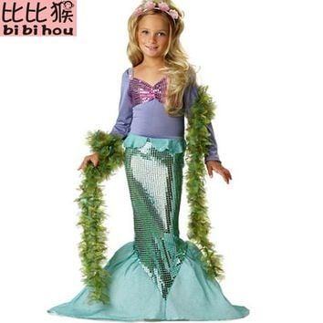 New Girls Mermaid Dresses with Pearl Children Halloween Little Mermaid Ariel Cosplay Costumes for Kids Carnival Party Dress 3-10