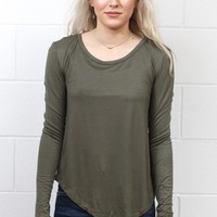 Long Sleeve Soft Rounded Hem Basic {Olive}