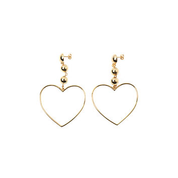 Gold-Tone Heart Drop Earrings