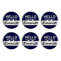 Emmitt Hello My Name Is Plastic Resin Button Set of 6