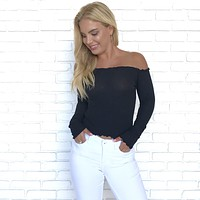 Sweet Thing Off Shoulder Blouse in Black