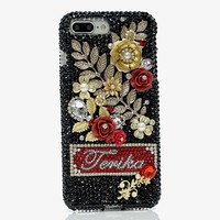 Golden Floral Personalized Name & Initials Design (style PN_1095)