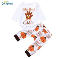LONSANT 2018 Baby Boy Girl Thanksgiving Day Clothes Set Letter Print Turkey Romper Jumpsuit+Pants festival Outfits Clothing