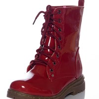 Gloss Grudge Patent Lace Up Boots - Red from CA Collection by Carrini at Lucky 21