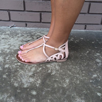 Nude Snake Buckle Sandals