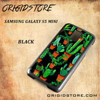 Cactus Black Pattern For Samsung Galaxy S5 Mini - Gift Present Multiple Choice