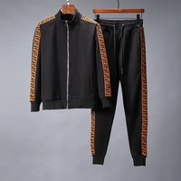 FENDI 2018 new fashion zipper cardigan sports suit two-piece