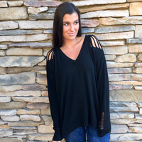 Dare Me Destroyed Sweater in Black