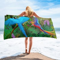 Tropical Macaw Parrots Towel