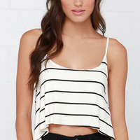 You Sassy Thing You Black and Cream Striped Crop Top